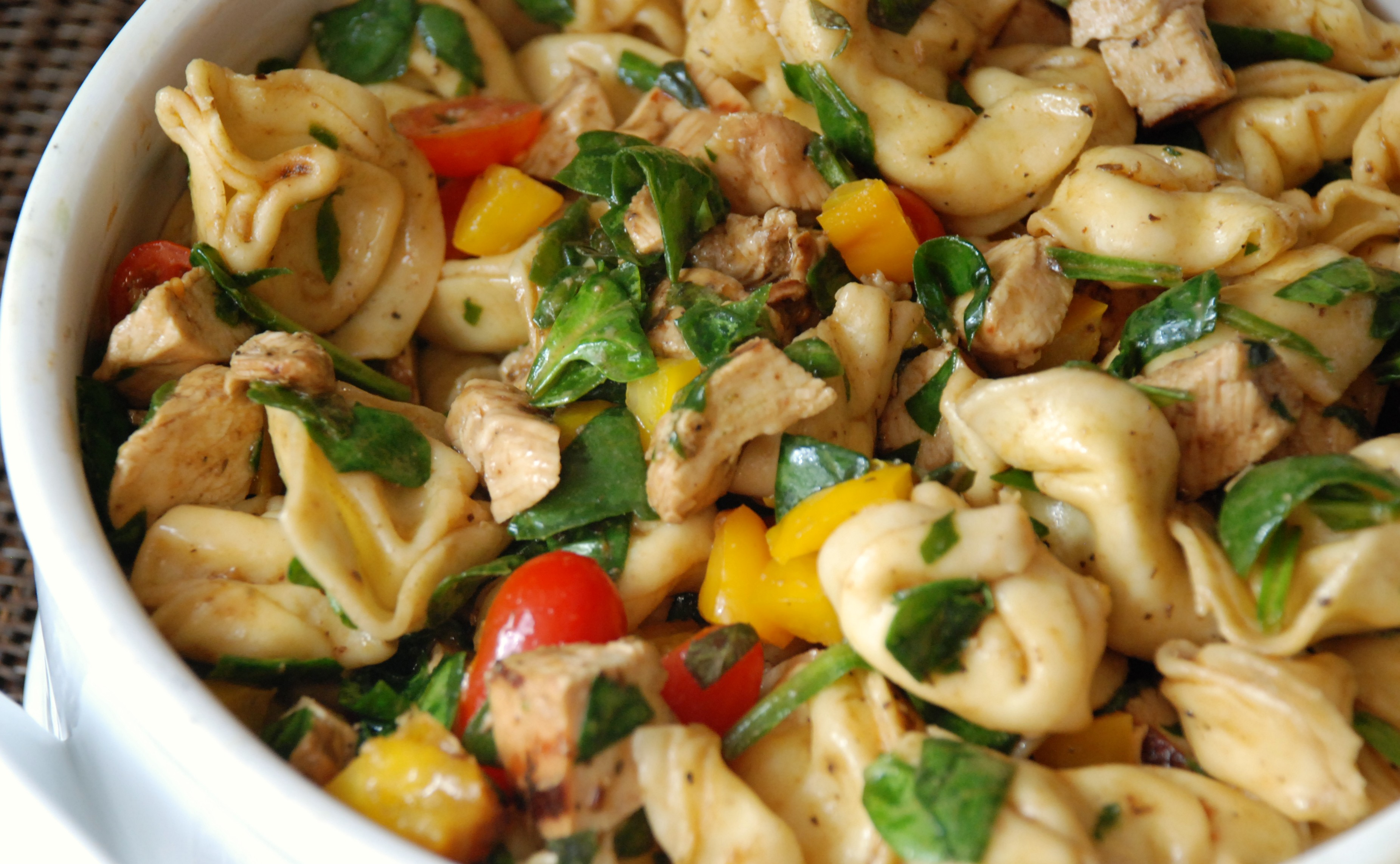 balsamic chicken spinach and tomato pasta salad. Black Bedroom Furniture Sets. Home Design Ideas